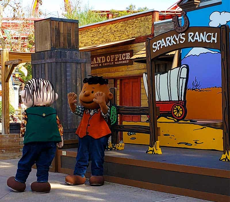 Linus and Franklin in Calico Park at Knott's PEANUTS Celebration