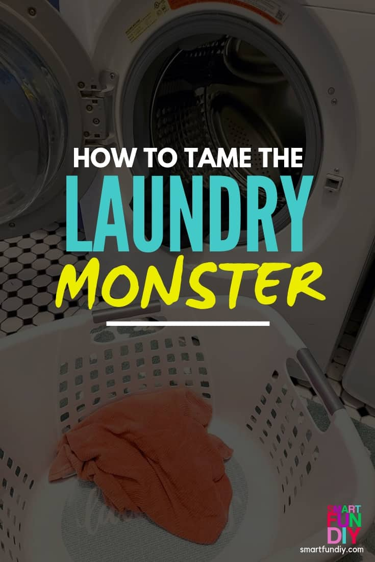 """graphic with word overlay """"how to tame the laundry monster"""""""